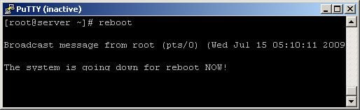 linux reboot server