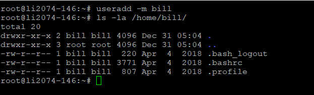 useradd commad with home directory