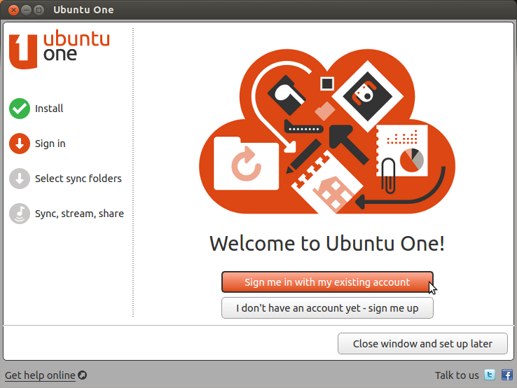 Ubuntu One allows you to store and share data between many devices over the cloud.