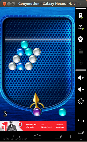 playing a game in the virtual android device