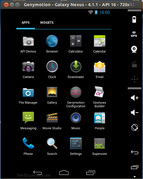 android virtual device running