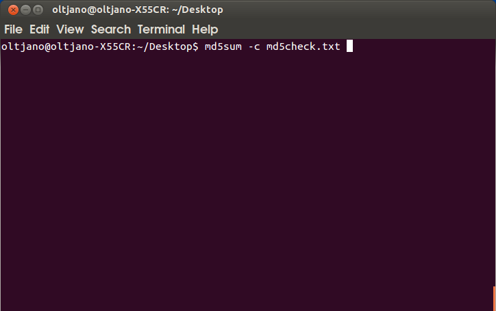 using the md5sum command with the -c option