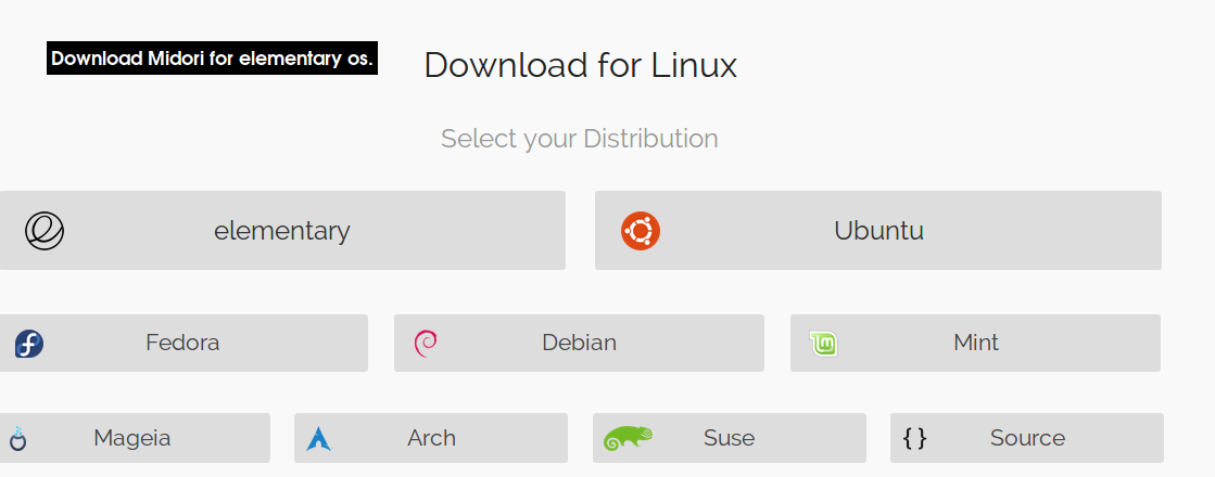 Download Midori For Linux, Select Your Distribution