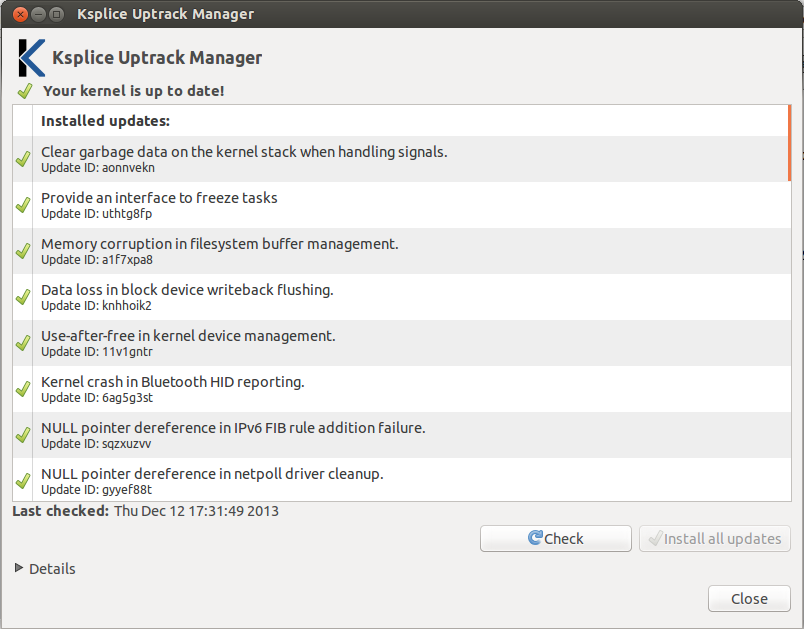 Kernel up to date