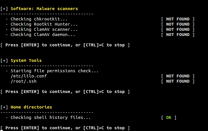 Malware Scanners, System Tool and Home directory