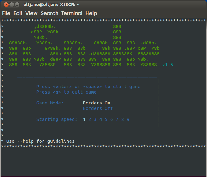 how to play snake game in linux