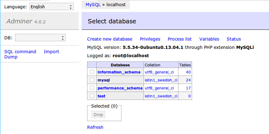 Database administration page