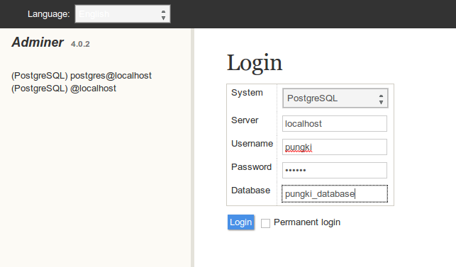 postgreSQL login