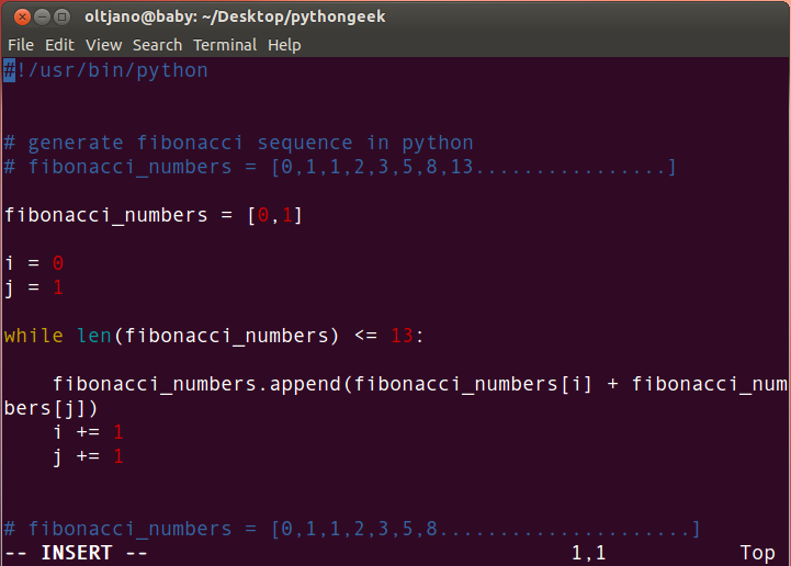 how to generate fibonacci numbers in python