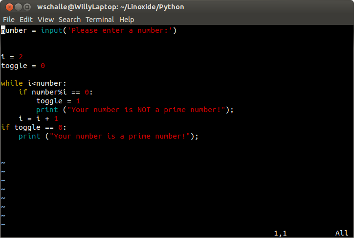 Learn Python - Using If and While to find Prime Numbers