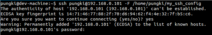 Specify your ssh_config