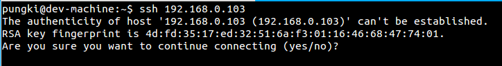 SSH connecti confirmation
