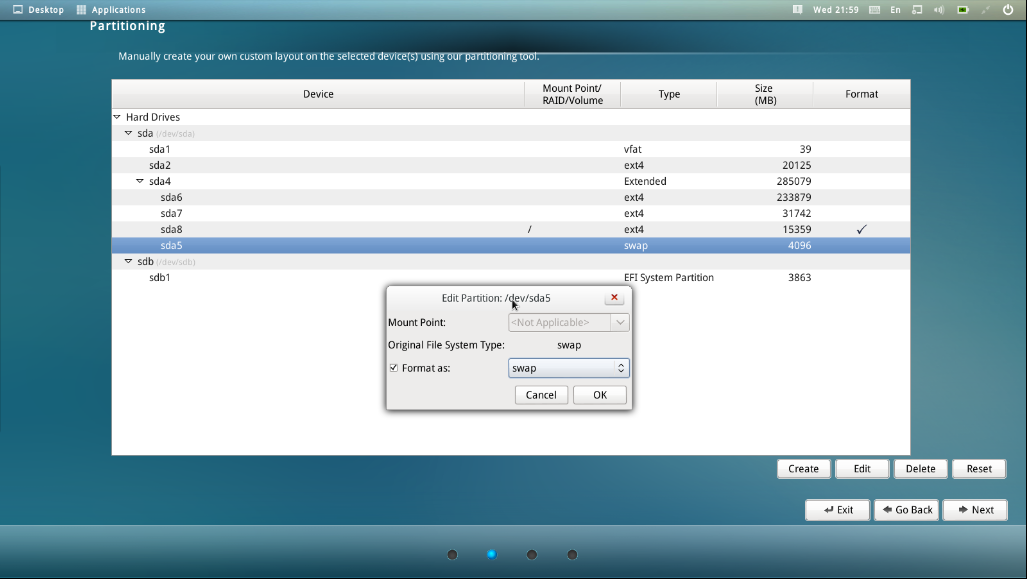 Partition Tool Make Swap