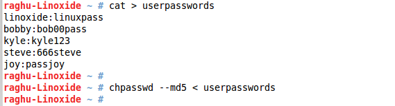 Passwords will be encrypted with md5 algo