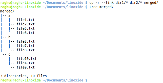 Merge directories with hard links
