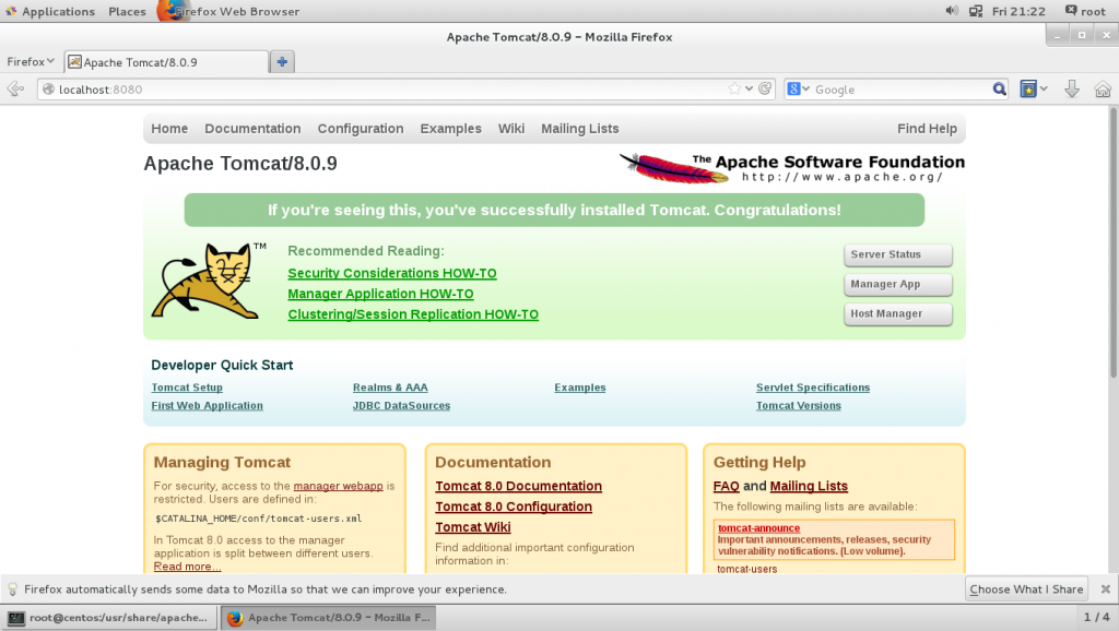 Tomcat 8 on CentOS 7