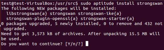 Installation of strongswan