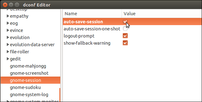 dconf-editor selecting auto save session