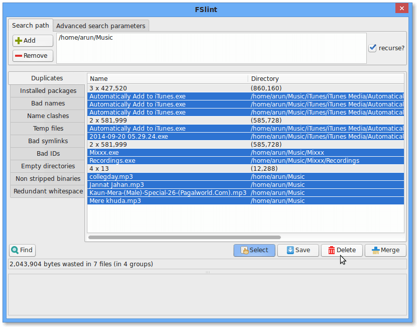Delete Duplicate files with Fslint