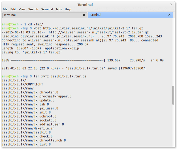 downloading and extracting jailkit