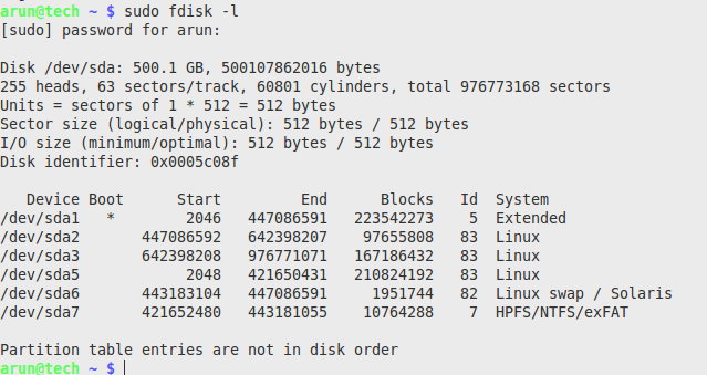 fdisk-l view the list of the hard disk and its partitions