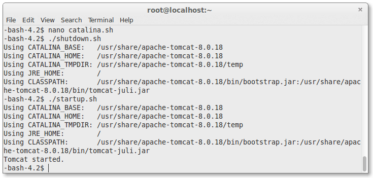 restarting apache tomcat server