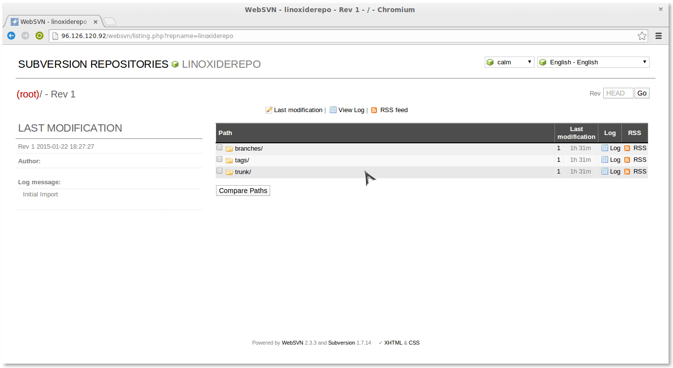websvn successfully installed