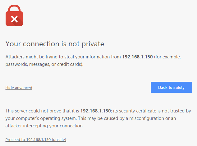 Certificate Exception of Chrome