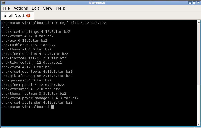 extracting xfce package