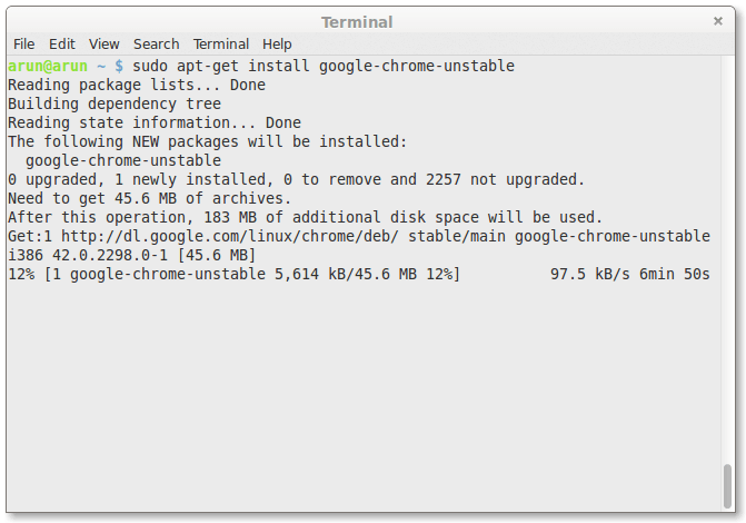 Installing Google chrome unstable