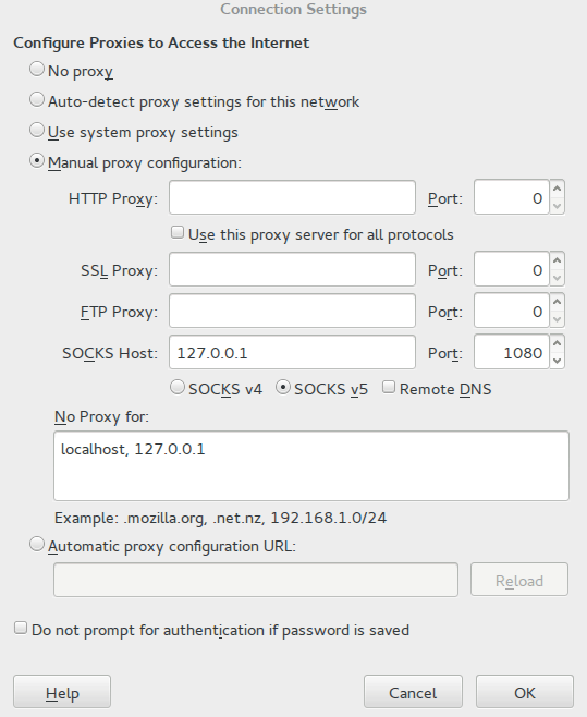 Firefox Proxy settings