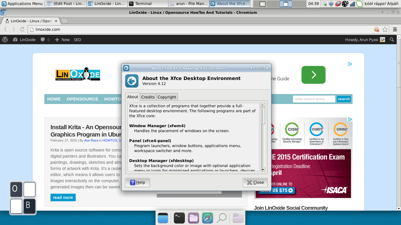 xfce about