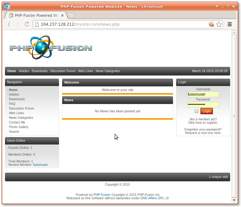 php fusion homepage