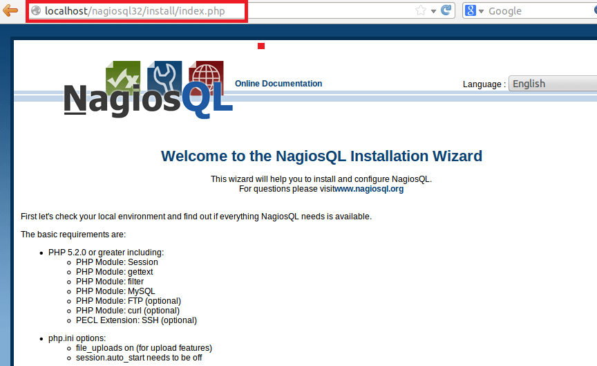 NagiosQL interface