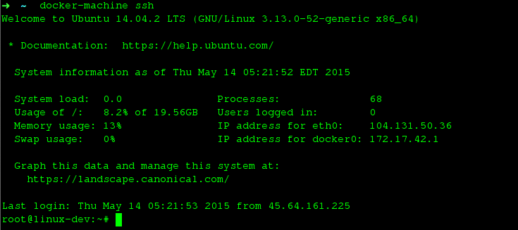Docker Machine SSH