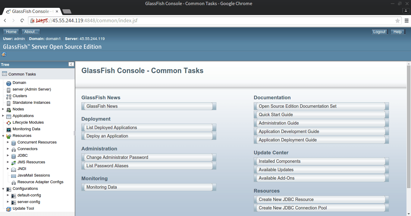 GlassFish Administration Panel