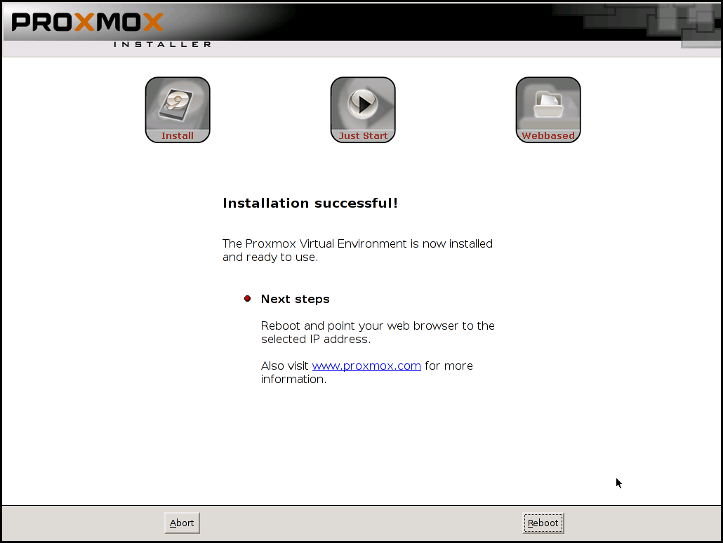 Proxmox Instalation Successful