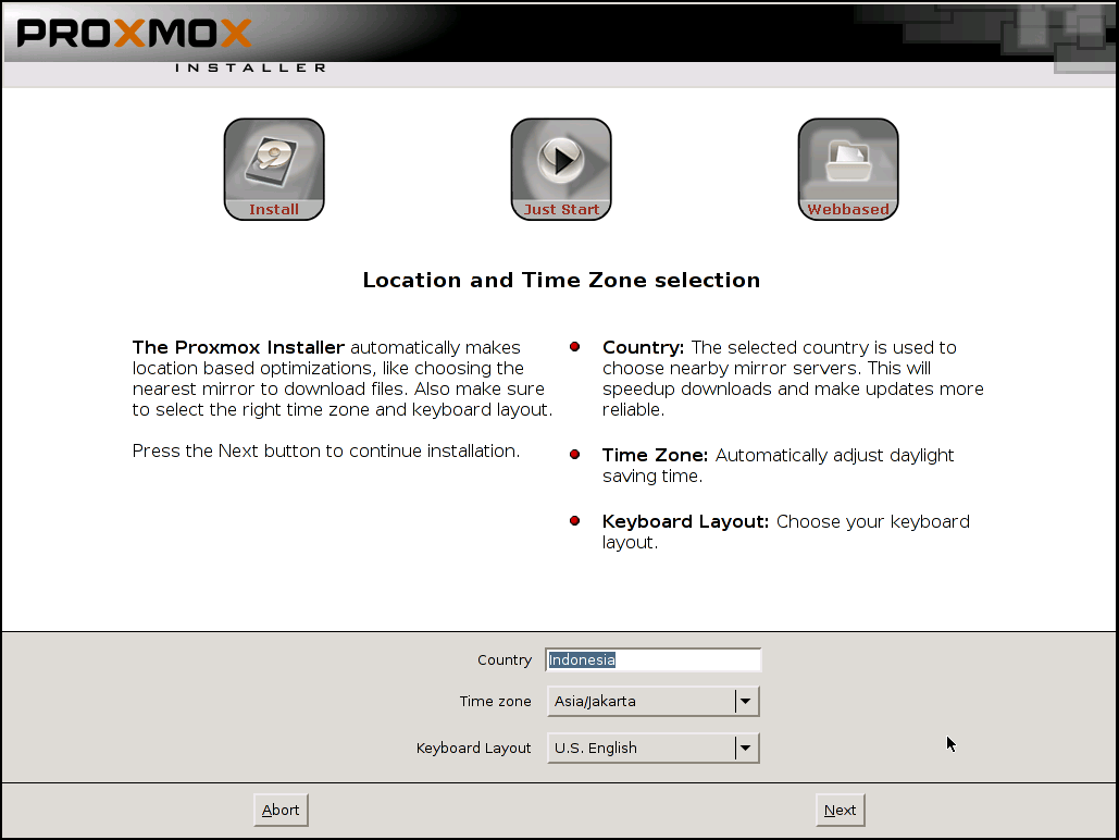Proxmox Location and Time Zone selection