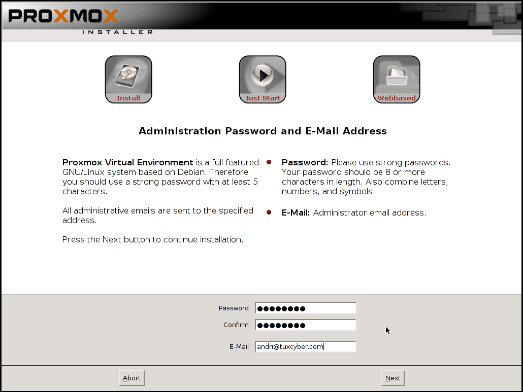 Proxmox Administration Password and Email Address