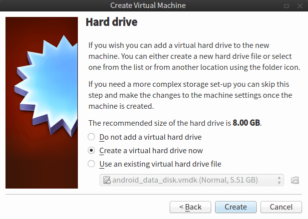 Creating Virtual Hard Disk