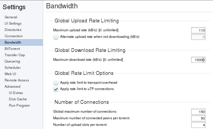 Global bandwidth settings
