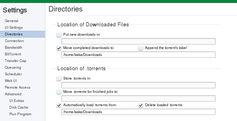 Setting directories