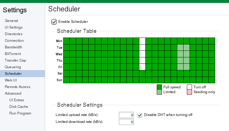 uTorrent scheduler feature