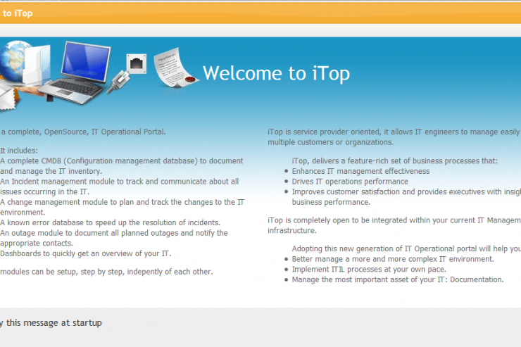 itop welcome note