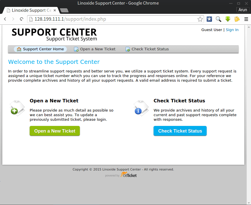 osticket support homepage
