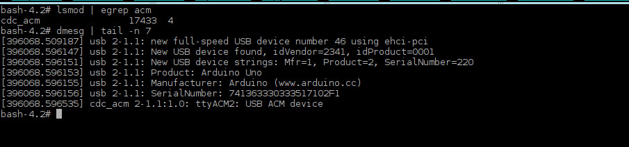 Detect arduino lsmod and dmesg