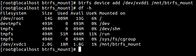Adding a device to btrfs