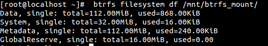 Output of 'df' in btrfs