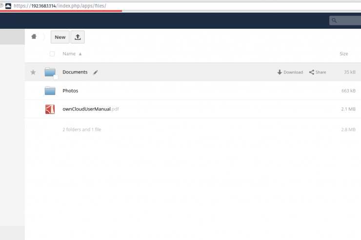 Owncloud installed