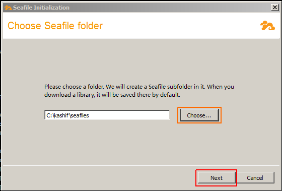 Seafile Folder location
